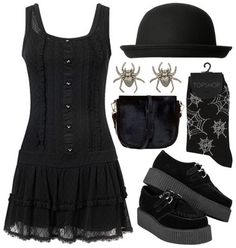 Love the dress, creepers, and spider earrings. Wouldn't wear the socks or the hat