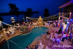 Alabama Lake Mitchell wedding, wedding reception around the pool, string lights at wedding reception