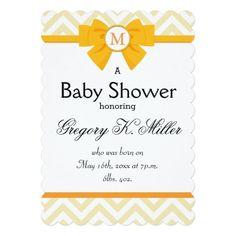 Yellow Ribbon Monogram 5x7 Paper Invitation Card http://www.zazzle.com/yellow_ribbon_monogram_5x7_paper_invitation_card-256846306006146617?utm_content=buffer214c3&utm_medium=social&utm_source=pinterest.com&utm_campaign=buffer #babyshowers
