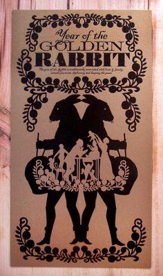 Gold Chinese New Year Rabbit Letterpress Print
