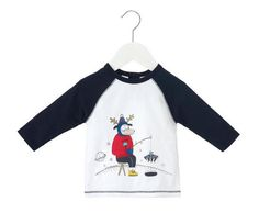 Little Marc Jacobs Sueded Illustration Tee in Blue Blanc