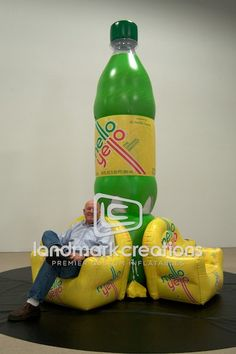 Mobile Marketing! Inflatable Mello Yello on Pedestal Bottle Replica #inflatables #marketing #balloonmarketing