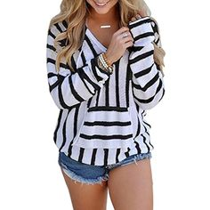 LD Womens Casual Stripe Pullover Hooded Sweater Sweatshirts Tops ** Learn more by visiting the image link. (This is an affiliate link) #FashionHoodiesSweatshirts