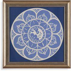 """Bassett Mirror Framed Art Indigo Earthen Ware II 22"""" x 22"""" - 9900-491BEC"""