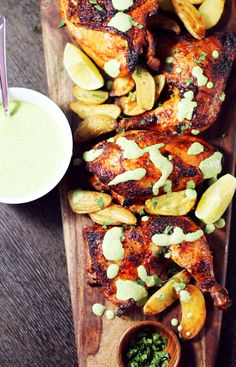 Succulent marinated Peruvian Chicken with creamy and spicy Aji Verde (Peruvian green sauce)- so much flavor and so healthy!