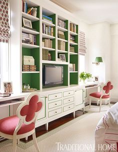 Raspberry & kelly green pair perfectly for a girl's bedroom