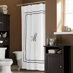 Monogrammed Shower Curtain from Through the Country Door® Saw this on Rehab addict but not sure they have my letter available...