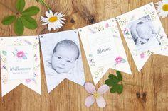 Geburtskarte «Bruna» als Girlande 🌸🌿 einfach online selbst gestalten und bestellen 🌸 gratis Couverts, schnelle Lieferung, echt schweizerisch 🇨🇭 Frame, Home Decor, Thanks Card, Garlands, Templates, Cards, Simple, Picture Frame, Decoration Home