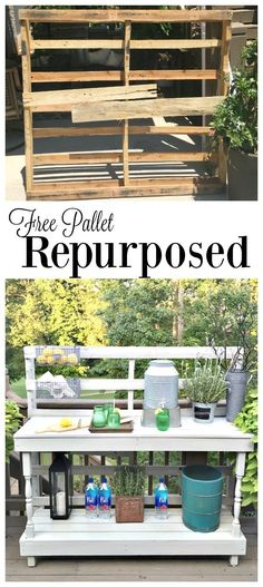 Free pallet repurposed - Dining -Rustic farmhouse serving area idea - Made from a pallet - outdoor potting table serves as buffet or drink service area