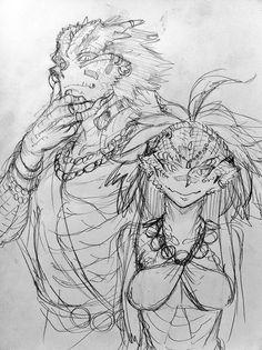 人間と共存しているリザードマンの部族。 Tribe of Lizardman coexisting with humans. 彼らと人間は肉体関係をもつことで家族になり、互いに争うことを避けます。 They and humans to have a physical relationship for becom a famliy. becase eliminate conflict.