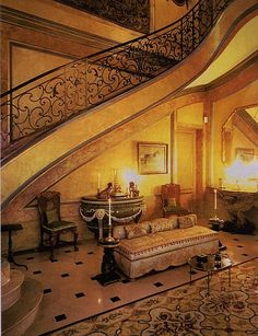 The Entrance Hall of the Villa Windsor. Stephane Boudin created a mid-century interpretation of an 18th century mansion.