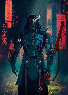 077 Samurai 2077 Art Print by Yexart - X-Small Dark Fantasy Art, Fantasy Armor, Fantasy Samurai, Cyberpunk Kunst, Sci Fi Kunst, Samurai Tattoo, Fantasy Character Design, Character Art, Ninja Kunst