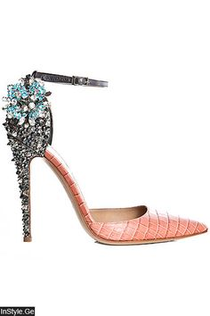 Dsquared2 Peach Snakeprint Ankle-Strap Pumps with Bejeweled High Heels Fall 2012 #Shoes #Crystals