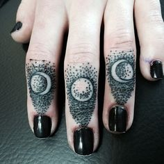 #moon #phases #finger #tattoo