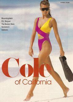 Cole Of California Cosmopolitan US April 1988 Model: Renée Simonsen