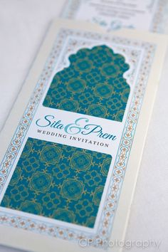 Temple of Dreams Asian Wedding invitation.  Wallet style invite personalised with name and wedding date.  Available in all colours by www.fuschiadesigns.co.uk