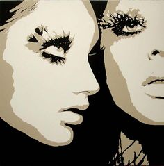 This pop art styled canvas took inspiration from a fashion photograph. The last time we painted this canvas, we included beautiful speckled feathers to add depth to enhance the eyelashes. (www.artistic-touch.co.uk)