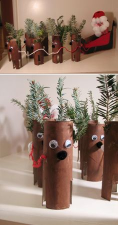Crafts and DIY Community: Toilet Paper Roll Christmas Crafts Christmas Activities, Christmas Crafts For Kids, Christmas Projects, All Things Christmas, Holiday Crafts, Christmas Decorations, Noel Christmas, Winter Christmas, Toilet Paper Roll Crafts
