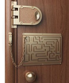 Door chain maze (InventionReaction.com)   Good for drunks and sleepwalkers, bad for escaping from a fire.  Still, it looks cool...