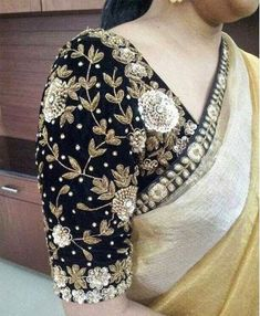 Latest designer blouse designs in 2015 for saree. Wedding top best trending blouse designs collections for saree. Best styles of sari blouse design to fall in love. Saree Blouse Patterns, Fancy Blouse Designs, Bridal Blouse Designs, Saree Blouse Designs, Saris, Silk Sarees, Bandhani Saree, Black Saree Blouse, Zardosi Work Blouse