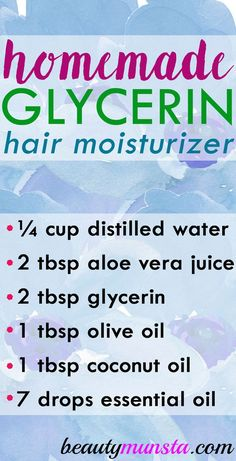 Use this homemade glycerin hair moisturizer for hydrated and healthy locks! Vegetable glycerin is a great hair care ingredient! It's all natural plus has some serious moisturizing and conditioning properties! I recently shared 5 Vegetable Glycerin Recipes Natural Beauty Tips, Natural Hair Styles, Natural Hair Care Tips, Natural Oils, Glycerin For Hair, Uses For Glycerin, Oil For Hair Loss, Home Remedies For Hair, Health Tips