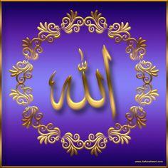 Çeşitli Renklerde Muhteşem ''ALLAH'' Yazıları / ''ALLAH'' Yazılı Duvar Kağıdı Resimleri