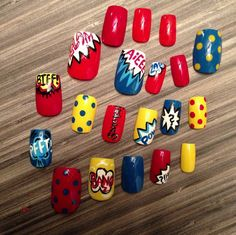 Comic book themed nail art via Offbeat Bride. Although I wear no claws, these pop art colors make me :)