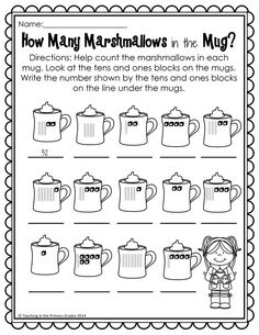 Winter First Grade Activities - Your first graders will love to review math and literacy concepts with these fun winter themed printables. These worksheets are Common Core Aligned. Your students will review place value along with other math and literacy concepts. I print them off and staple the into a packet to use for fast finishers.