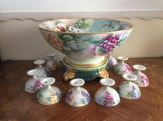 Beautiful Antique Limoges hand painted punch bowl set for your private collection or home decor! www.mon-tatis-antiques.com  Offers welcome.
