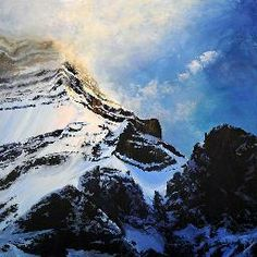 """¨Storm is Lifting¨ by Canadian Artist Tim Schumm. 48"""" x 48"""" Acrylic on Canvas. #CanadianArt #Mountains #landscape #fineart #acryliconcanvas"""