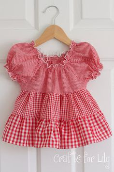 gingham tiered peasant top