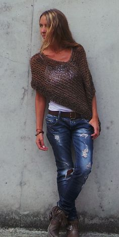 Brown Poncho / loose knit Luxury merino and alpaca mix by ileaiye, 3 left in this shade
