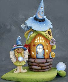 Ceramic-Bisque-Ready-to-Paint-Rose-Witch-Fairy-House-with-Fairy-Orb-Lights
