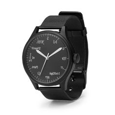 Geeks: We've Got Your Number  Regular numbers? Those are for amateurs. Bring your inner genius out for all to envy with a smart and stylish watch that features the equivalent notation of each number.  http://www.uncommongoods.com/product/equation-geek-watch?sv_cid=1160_03576