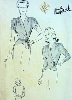 1940s Vintage Sewing Pattern B32 WRAP-AROUND BLOUSE (R776) #Butterick