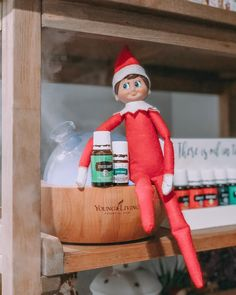 While many Elves on the Shelf are mischievous with an excessive sweet tooth, pounding Froot Loops, chocolate bars, and marshmallows while washing it down with Essential Oil Diffuser, Essential Oils, An Elf, Workout Humor, Christmas Movies, Froot Loops, Candy Cane, Elf On The Shelf, Peppermint