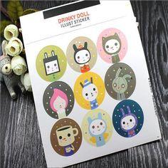 Z04 2 Sheets Kawaii Cat Waterproof Sticker Stick Label Phone Diary Notebook DIY Craft Stationery Sticker Kid Gift