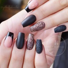 There are most popular designs for coffin nails in our gallery. Find out which designs are the most complementary for coffin nails and recreate your favorite ones. Check out our trendy ideas and get inspired. Acrylic Nails Coffin Short, Black Coffin Nails, Acrylic Nail Shapes, Dark Nails, Long Nails, Matte Nails, Nail Art Designs, Long Nail Designs, Black Nail Designs