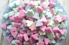 """sugar """"cubes"""" tutorial = 2 c sugar + food coloring + 4 t water.  Let air dry 2 days or bake 200F for 10 min"""