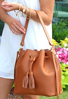 Quality and style is what you'll get with this Monogrammed Bucket Bag! This leather bag pairs well with our Monogrammed Leather Wallet and Monogrammed Weekender. Popular Handbags, Cheap Handbags, Prada Handbags, Luxury Handbags, Purses And Handbags, Leather Handbags, Bucket Handbags, Backpack Handbags, Bucket Purse