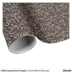 Coffee mug pattern wrapping paper