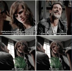 """The Walking Dead, season episode """"Sing Me A Song"""" - Carl Grimes (Chandler Riggs) and Negan (Jeffrey Dean Morgan) Carl The Walking Dead, The Walk Dead, Walking Dead Series, Walking Dead Season, Walking Man, Negan And Carl, Twd 7, Riggs Chandler, Dead Zombie"""