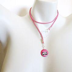 Colar gatinho no rosa Virginia Caldas | prata