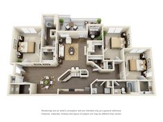 "Three Bedroom Apartments Floor Plans 50 three ""3"" bedroom apartment/house plans 