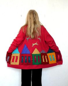 Sweet funny colorful cardigan sweater.Appliqued.Made from up