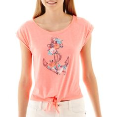 Arizona Short-Sleeve Nautical Tie-Front Tee   found at @JCPenney
