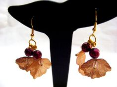 Berry with Leaves Earrings by carolsmalleydesigns on Etsy