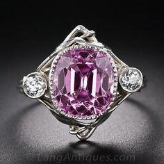 7.40 Carat Arts & Crafts (circa 1890-1914) Pink Sapphire Ring in Platinum - 30-1-5172 - Lang Antiques