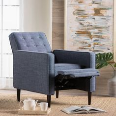 Mervynn Mid-Century Button Tufted Fabric Recliner Club Chair by Christopher Knight Home - Overstock - 15037715 - muted purple + dark espresso My Living Room, Living Room Chairs, Living Room Decor, Living Spaces, Dining Rooms, Small Recliners, Small Armchairs, Modern Recliner, Living Room Upholstery