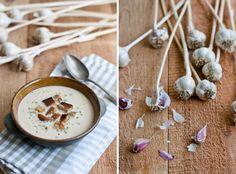 Cream of Garlic Soup Gazpacho, Garlic Soup, Stuffed Mushrooms, Stuffed Peppers, Slice Of Bread, Coriander, Whipped Cream, Onion, Bakery